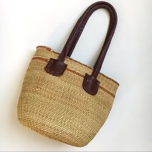 Vintage woven bucket bag tote with leather straps